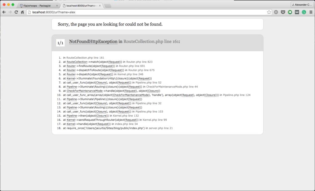 Laravel 5 Error Page