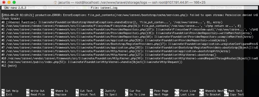 Laravel 5.3 Error message in Log File