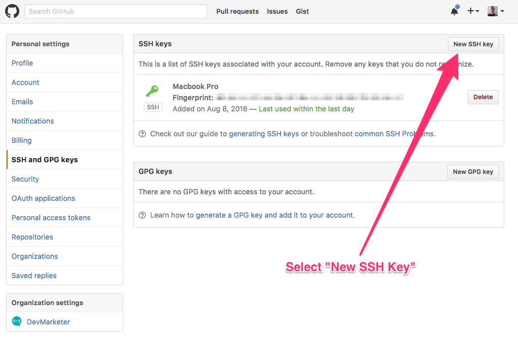 make new ssh key github